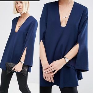 ASOS Blue Tunic Top With Square V-Neck
